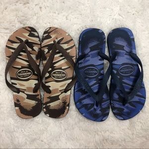 Havaianas Camo Flip Flops Blue and Brown Size 7/8